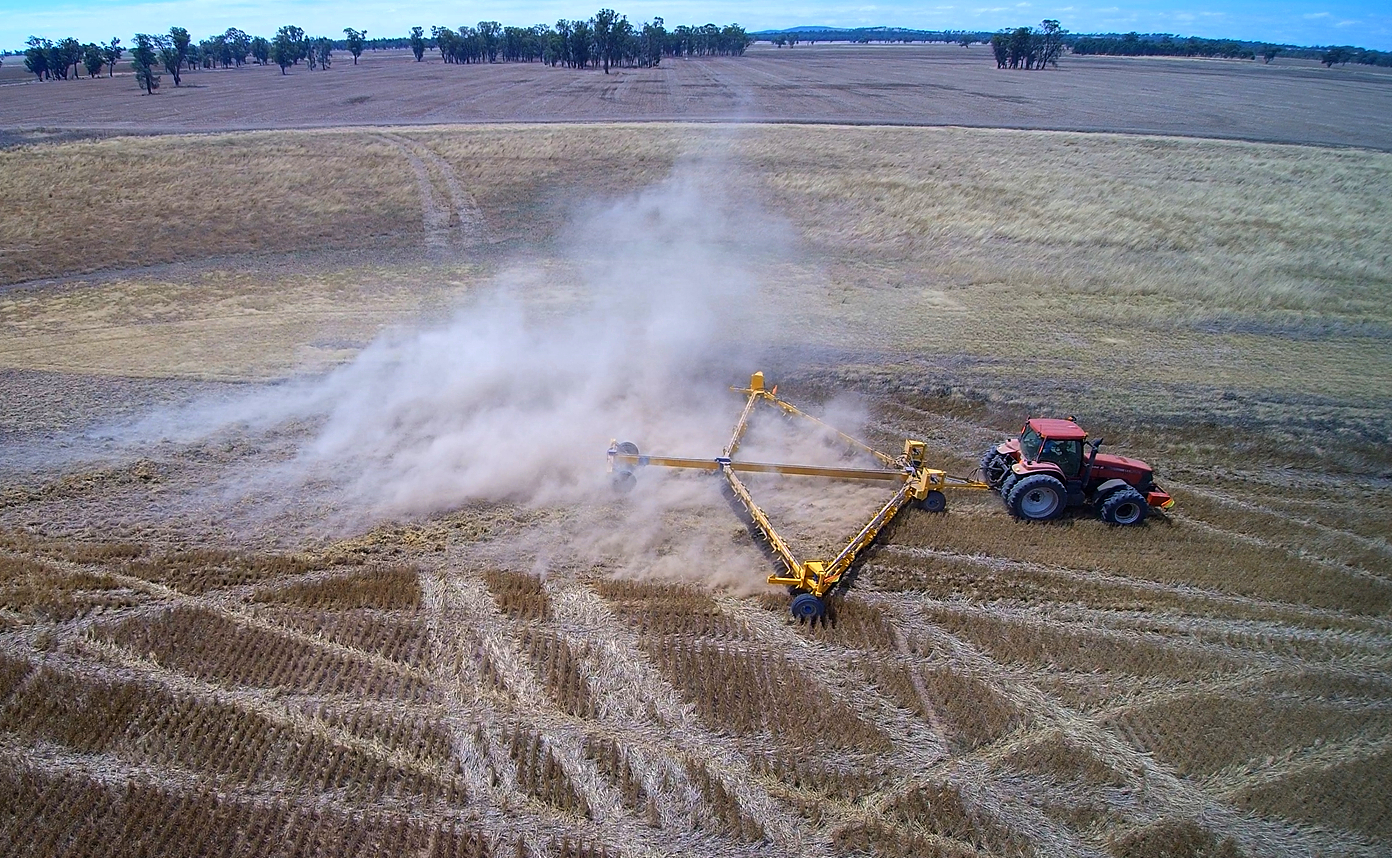 Working a wheat stubble